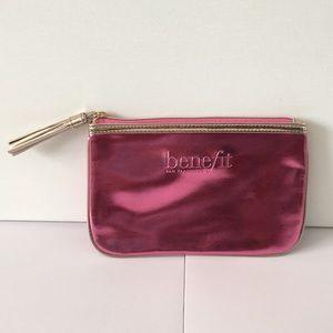 Pink benefit makeup bag